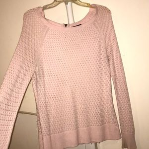 Pink American eagle open knit sweater with zipper